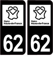 2 stickers style plaque immatriculation AUTO FULL BLACK HAUT DE FRANCE 62