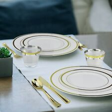 Gold Plastic Dinnerware Set 600 Pieces Up to 100 Guests - Plates, Cups & Cutlery