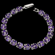 Unheated Oval Amethyst 4x3mm 14K White Gold Plate 925 Sterling Silver Bracelet