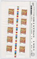 1993 AUSTRALIA POST 'CHRISTMAS 1993' GUTTER STRIP 10 x 45 cent MNH STAMPS - MINT