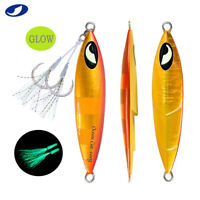 Flat Slow Pitch Fall Metal Lead Vertical Jigs Jigging Fishing Lure Tackle Glow