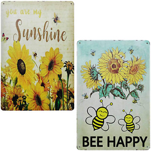 TISOSO You are My Sunshine Vintage Bee Happy Sunflower Tin Signs Rustic Wall for