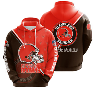 Cleveland Browns Hoodies Mens Casual Sweatshirt Fans Football Pullover Jacket