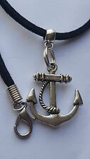 "ANCHOR WITH CORD TIBETAN SILVER CHARM ON BLACK 3MM VELVET CORD  18""NECKLACE."
