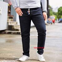 Mens Plus Size Jeans Stretch Denim Pants 29-48 Trousers Elastic Waist Vintage