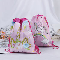 Unicorn Non-woven Bag Backpack Kids Travel School Decor Drawstring Gift Bag WL
