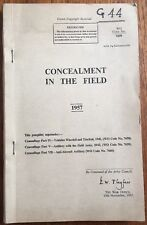 "Very Rare War Office Booklet ""Concealment In the Field"" Military Training 1957"