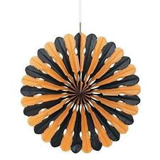 40cm Black and Orange Halloween Tissue Paper Decorative Fan