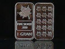 5 Stück 999 Silberbarren Barren Silber Fine Silver Maple Leaf Neu * sehr edel *