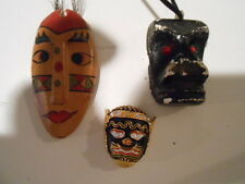 3  OLDTIME? MASKS MNIATURES. 60S BLACK,WOODEN, METAL PIN(COOL COLLECTABLES)