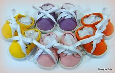 """Set 4 Pair DOLL SNEAKERS Backless Canvas SHOES fits 18"""" AMERICAN GIRL DOLL"""