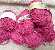 7 Skeins Cotton Look 1.75 OZ  Dusty Rose Yarn- Lion Brand Company-Made in USA!
