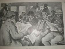 Dans une troisième classe fumeur Charles Simpson 1903 OLD print train transport