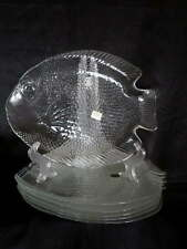 """Arcoroc France Poisson Dinner Plate Lot of  6 Fish Clear New w Tags 10.5"""""""