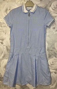 Girls Age 8-9 Years - Blue Checked School Dress