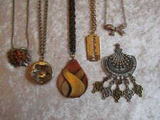 Lot of 6 Pendant Necklaces - Copper, Pewter, Silver, Brass