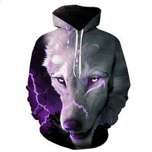 Women Men 3D Print Hoodies Pullover Sweatshirts lightning Wolf Animal Tops