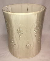 Vintage Silk Ivory Embroidered Drum Lamp Shade Hollywood Regency 16x21 *AS IS*