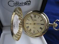 COLIBRI GOLD FACE GOLDTONE POCKET WATCH  ENGRAVEABLE SHIELD WITH DATE & DAY