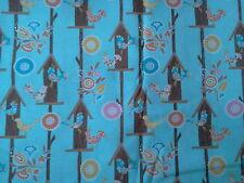 "2 yards ""Calico Birds w/ Birdhouses & Flowers"" on Aqua 100% Cotton Fabric- 44"""