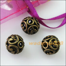 5 New Charms Flower Round Ball Spacer Beads 12mm Antiqued Bronze
