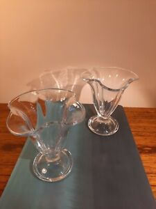 2 x Glass Ice Cream Sundae Dishes