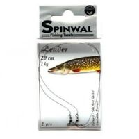 Pike Leader Fishing 2pcs Wolfram Leaders Traces SPINWAL 2kg-20kg Wire Swivel UK