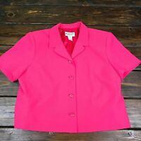 Women's Vintage Pendleton Hot Pink Short Sleeve Blouse Petite 14P Shoulder Pads