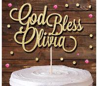 'GOD BLESS' CUSTOM NAME GLITTER CAKE TOPPER CHRISTENING BAPTISM COMMUNION