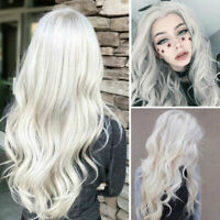 Women Silver White Long Curly Wigs Ladies Full Wavy Hair Fancy Dress Cosplay Wig