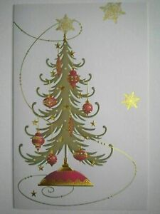 American Greetings ~ WRAPPED GIFTS CHRISTMAS GREETING CARD + FOIL-LINED ENVELOPE