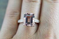 1.2ct Emerald Cut Peach Morganite Solitaire Engagement Ring 14k Rose Gold Finish