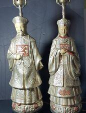 Vintage Pair Asian Cast Silver Emperor Emperess Sculpture Figural Lamps