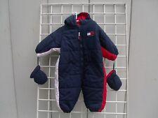Tommy Hilfiger Hooded Snowsuit Blue Logo Baby Boy w / Mittens Size 6-12 Months