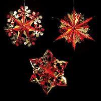 Christmas Foil Ceiling Decoration Hanging 40cm SET of 3 – Choose Colour