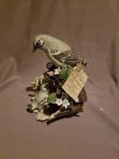New ListingVtg Masterpiece Porcelain by Homco 1979 Mockingbird & Baby Bird Flowers Figurine