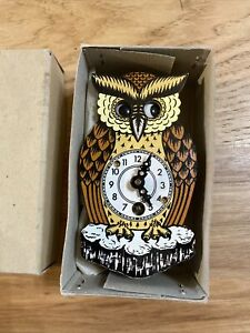 VINTAGE SMALL NOVELTY CUCKOO CLOCK-Owl WITH MOVING EYES-GERMANY-UNTESTED-VG Box
