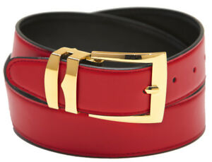 Men's Belt Reversible Wide Bonded Leather Gold-Tone Buckle XL Sizes