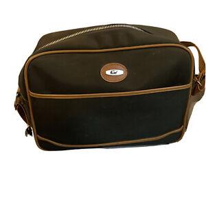 Vintage Verdi Brown Vinyl Overnight Carry On Bag  Light Brown Strap
