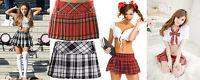 "Girls Women's micro mini Hipster tartan kilt side zip pleated skirts 12"" length"