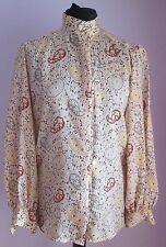 VTG 90s Ladies LIZ CLAIBORNE Beige Paisley Pattern Longsleeved Blouse Size 12
