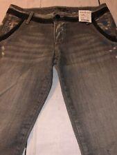 Bebe Premium Women's Jeans Abigale Trouser Gray Skinny Denim Size 28 NWT