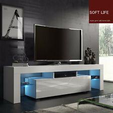 Modern TV Unit Cabinet Stand Matt Body & High Gloss Doors LED Light Livingroom