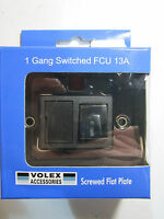 Volex 1 Gang Switched Fused Connection Unit 13A Neon Black Inner Nickel Flat