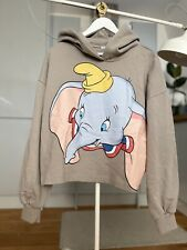 🐘 Zara Disney Dumbo Hoodie Jumper Size L Grey With Cute Elephant Print BNWT