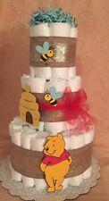 3 Tier Diaper Cake Gold & Orange Winnie The Pooh  Baby Shower Centerpiece