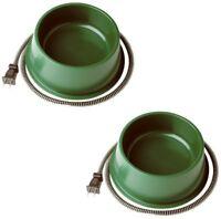 (2) ea Farm Innovators QT-1 25 Watt Green Heated Pet  Dog, Cat Water Bowls