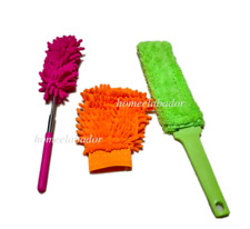 Pack of 3 Microfibre Dusters, Glove, Radiator Brush, Telescopic Extendable Clean