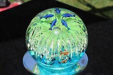 Large Glow in the Dark Hand Blown Glass Green Flower Seascape Globe  USA Seller