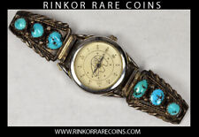 STERLING SILVER NAVAJO RICHARD BEGAY SIGNED TURQUOISE WATCH !